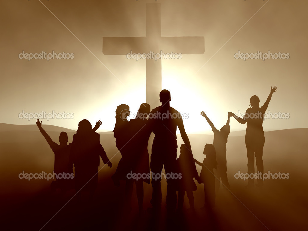 Silhouettes of family and at the cross of Jesus.  Stock Photo #3112754
