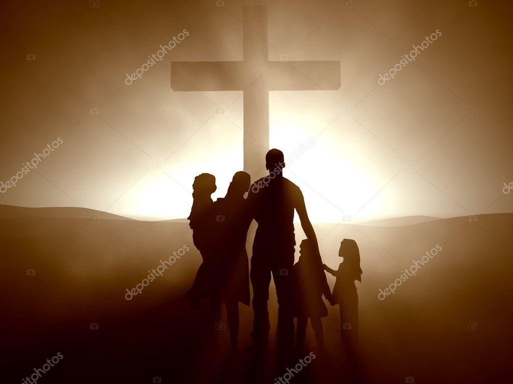 Family at the Cross — Stock Photo © Balazs #3203845