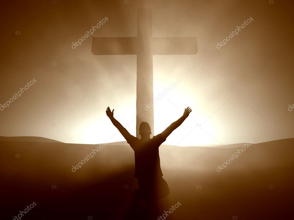 Silhouette of a man at the Cross of Jesus. — Stock Photo #3214681