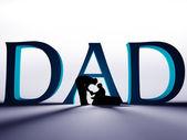 Padre e hijo debajo del texto grande papá — Foto de Stock