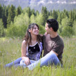Attractive young couple sitting in the field — Foto de Stock