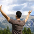 Man standing in nature with arms lifted up - Stock Photo