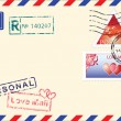 Air mail envelope Valentine day. - Stok Vektör