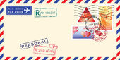 Air mail envelope Valentine day. — 图库矢量图片