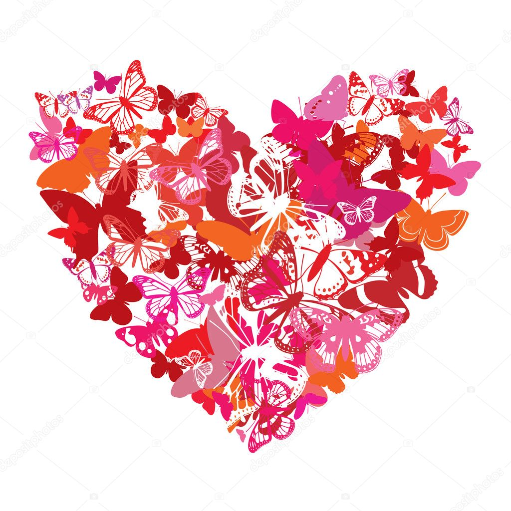 Vector Valentine heart is done from butterflies. Elements for your design. Vector illustration — Stock Vector #3181114