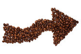 Arrow made of coffe beans — Stock Photo