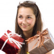 The girl with gifts — Stock Photo