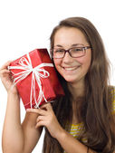 The girl with a gift — Stock Photo