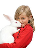 The beautiful girl with a white rabbit — Stock Photo