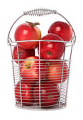 Red apples in a bucket — Stock Photo