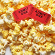 movie tickets and popcorn — Stock Photo #3158366