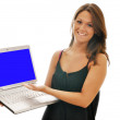 Smiling Female Brunette with Computer Isolated — Stock Photo
