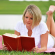 Stock Photo: Woman on Picnic with Book and Wine