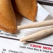 Stock Photo: Chinese Restaurant Menu with Chopsticks and Fort