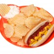 Stock Photo: Hot Dog with Potato Chips and Dip