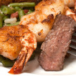 Sirloin Steak and Shrimp Closeup - Stock Photo