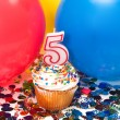 Celebration with Balloons, Confetti, and Cupcake — Stock Photo