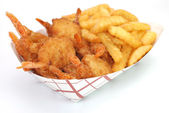 Fried Shrimp and French Fries — Stock Photo