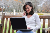 Female Student Using Computer Outside — Stock Photo