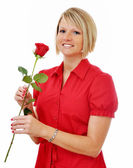Girl with Red Rose Isolated — Stock Photo