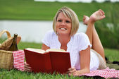 Woman on Picnic with Wine and Book — Stock Photo