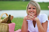 Young Woman on Picnic with Wine — Stock Photo