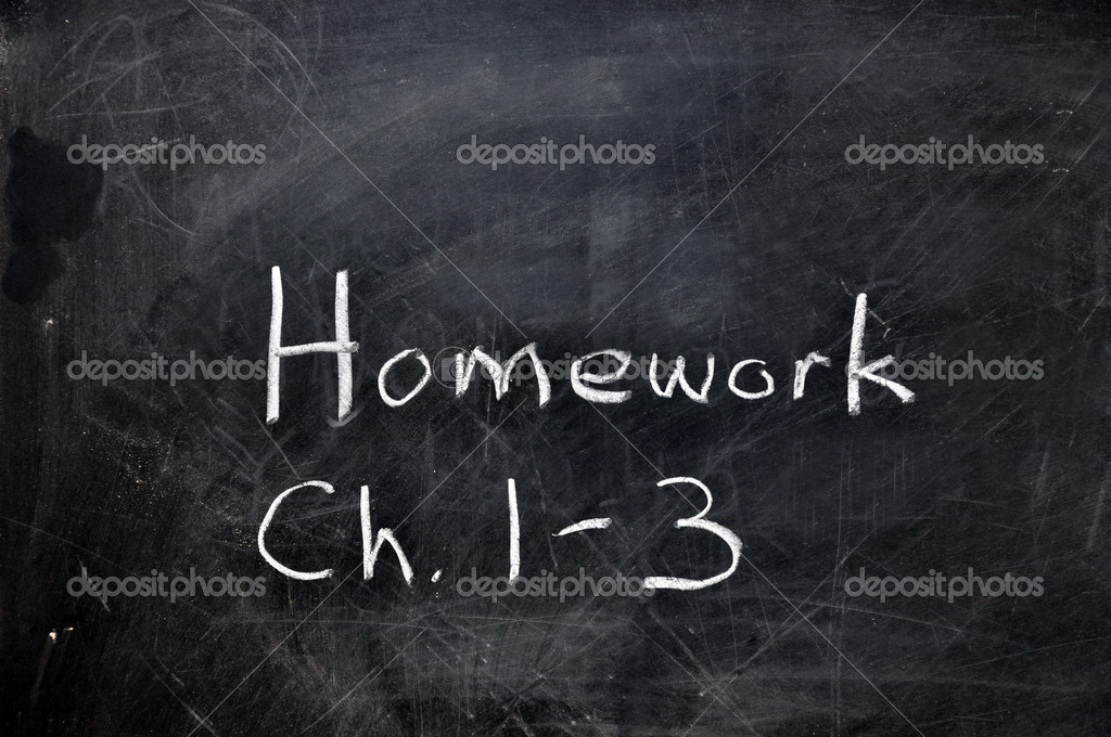 Homework assignment on black chalkboard with copy space. — Stock Photo #3158131