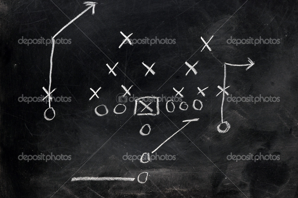 Diagram of football play on black chalkboard. — Stock Photo #3158189