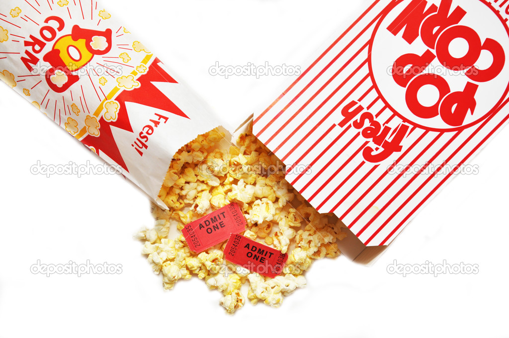 Popcorn and movie tickets. — Stock Photo #3158377