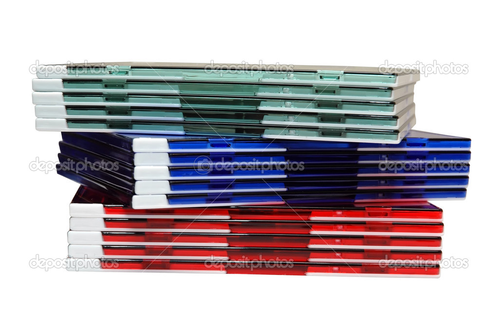 Stack of colorful cd cases.  Stock Photo #3158995