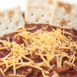 Chili with Beans, Cheese, and Crackers — Stock Photo