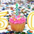 Celebration Cupcake with Candle - # 50 — Stock Photo