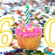 Celebration Cupcake with Candle - # 60 - Stock Photo