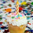 Celebration Cupcake with Candle — Stock Photo