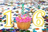 Celebration Cupcake with Candle - # 16 — Stock Photo