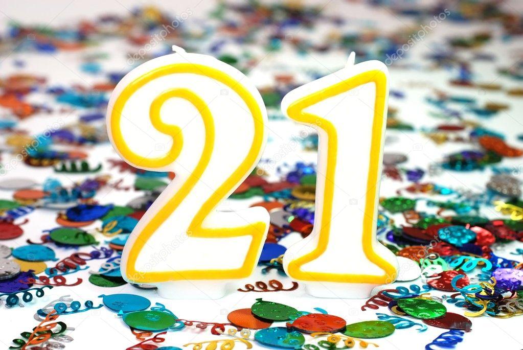 Celebration Candle - Number 21 — Stock Photo © dehooks #3160403