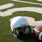 American Football Equipment on Field — Stock Photo