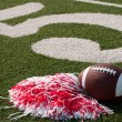 American Football and Pom Poms on Field - Stock Photo
