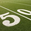 American Football Field 50 Yard Line - Stock Photo