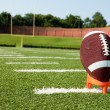 Closeup of AmericFootball on Tee on Field — Stock Photo #3693748
