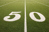 American Football Field 50 Yard Line — Stock Photo