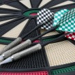 Three arrows on a darts board — Stock Photo