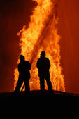 Two firemen at work — Stock Photo