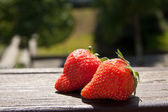 Nice delicious red strawberries in the sunlight — Stock Photo
