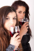 Two women drinking wine — Stock Photo