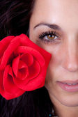 Beautiful brunette and a red rose — Stock Photo