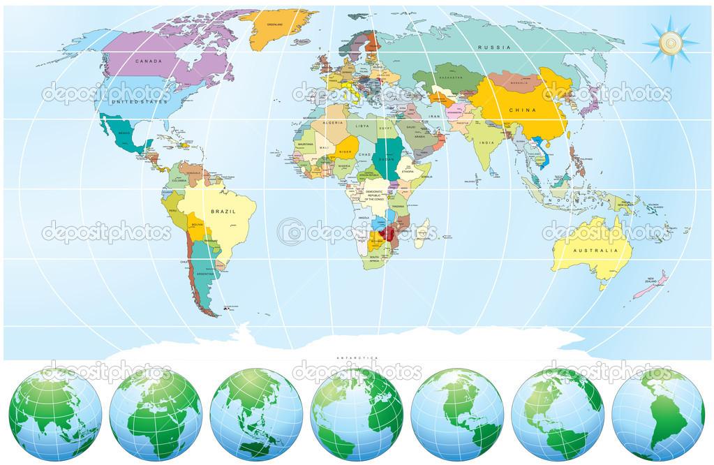 Detailed World Map with all Names of Countries and Capitals - -individual drawn objects,easy editable colors  Stok Vektr #3222056