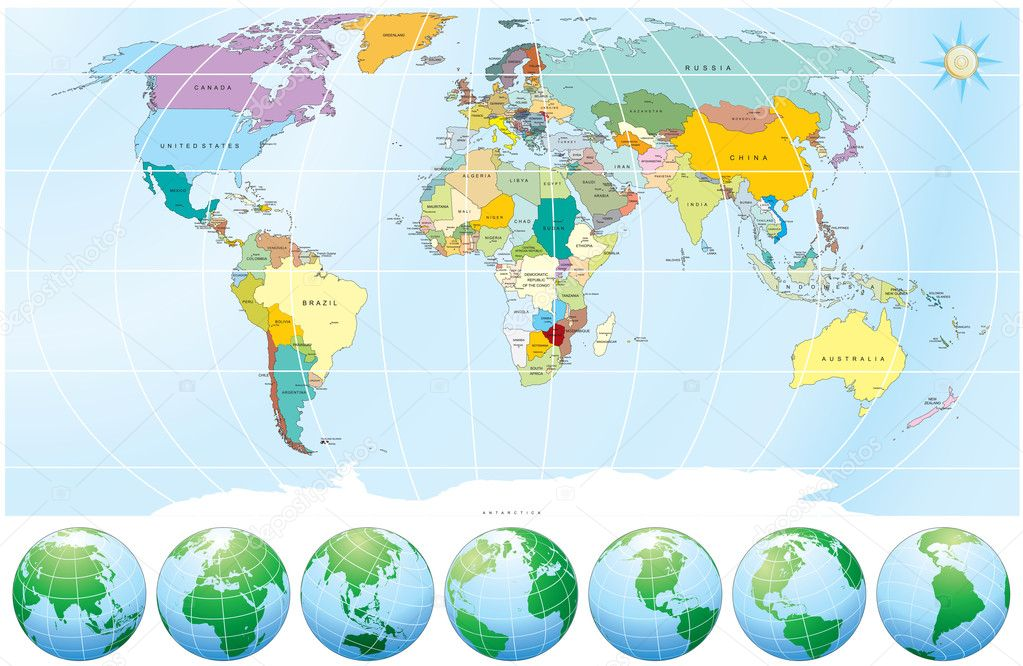 Detailed World Map with all Names of Countries and Capitals - -individual drawn objects,easy editable colors  Vektorgrafik #3222056