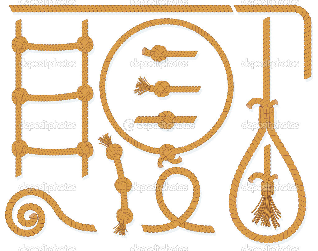 Vector twisted rope collection- isolated  design elements:gallows, ladder, cable, lasso, knots, loop, spiral etc.. — Stock Vector #3235486