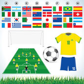 Soccer set — Stock Vector